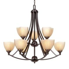 Glomar 9-Light Copper Bronze Incandescent Ceiling Chandelier-HD-063 - The Home Depot