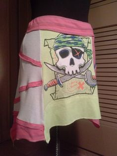 One-of-a-Kind Flirty Skirt Tropical Treasure Mini by Altered St8 Couture #alteredst8 #miniskirt #pirate #refashioned #skullandcrossbones #beachcoverup #wenchwear