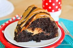 Chocolate and peanut butter a winning flavor combo that can be hard to beat.  Chocolate and peanut butter come together in a delicious way in this easy to make bundt cake. No worries about fancy decorating...