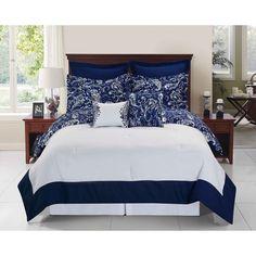 Enzo Navy and White Reversible Comforter Set