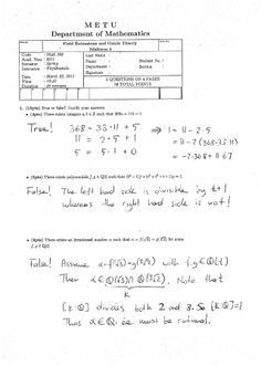 Field Extensions and Galois Theory First Midterm Exam Questions