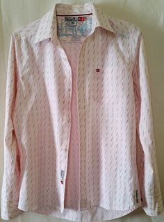 Quiksilver Pink with White and Gray Stripes Button-up Shirt Men's Size S/P #Quiksilver #ButtonFront