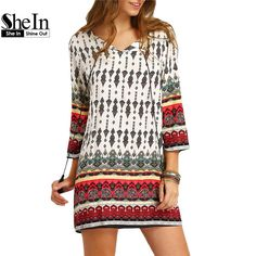 SheIn Women New Dress 2016 Summer Casual Long Sleeve Split Tie Neck Lacing Tribal Print Vintage Straight Short Dresses