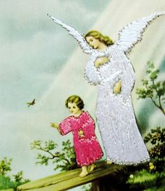 Novelty Embroidered GUARDIAN ANGEL Protects CHILD on Bridge Non-Postcard