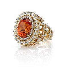 18k gold and diamond mandarin garnet bracelet ring by Erica Courtney®