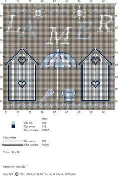 """""""Le Tric, le troc et le brode d' Isazabelle"""" - La mer Cross Stitch Sea, Cross Stitch Charts, Funny Cross Stitch Patterns, Cross Stitch Designs, Diy Embroidery, Cross Stitch Embroidery, Make Do And Mend, Crochet Cross, Nautical Theme"""