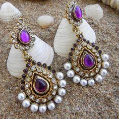Antique Polki Jewellery | Violet Antique Danglers With Polki Kundan Pearl ... | Indian Jewellery