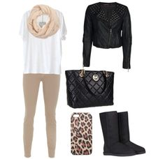 Cute fall outfit,Love the leather jacket!