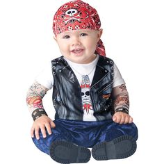 Your baby will be too cute this October. The Born to be Wild Biker Baby Costume is perfect for Halloween. Biker Halloween, Baby Halloween Costumes For Boys, Toddler Costumes, First Halloween, Cute Costumes, Halloween Fancy Dress, Infant Halloween, Halloween Parties, Diy Halloween