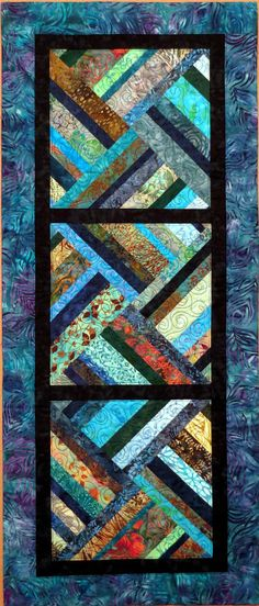 Blues Quilted Batik Table Runner contemporary patchwork