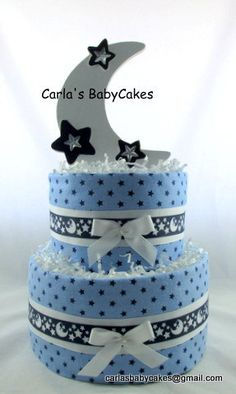 Moon stars diaper cake Baby diaper cake Boy by MsCarlasBabyCakes Diaper Cake Boy, Nappy Cakes, Cake Baby, Baby Shower Diapers, Baby Shower Cakes, Baby Shower Gifts, Boy Shower, Recees Cake, Wiggles Cake