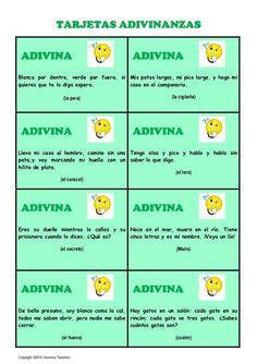 tarjetas-adivinanzas by laclasedeele VT via Slideshare Spanish Classroom Activities, Spanish Teaching Resources, Spanish Language Learning, Teaching Materials, Learning Apps, Learning Quotes, Spanish Quotes With Translation, Mexican Jokes, Spanish English