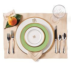 Traditional Make an elegant statement with classic pieces. Monogrammed white plates feel courtly and formal. Pair them with a plate with a ...
