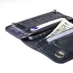 Retromodern aged leather wallet