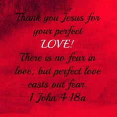 Thank you Jesus for your perfect Love! There is no fear in love; but perfect love casts out fear. 1 John 4:18a