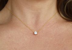 Floating Diamond Necklace CZ Necklace by BrightMomentsJewelry