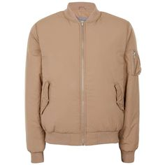 TOPMAN Brown Padded Ma1 Bomber Jacket ($80) ❤ liked on Polyvore featuring men's fashion, men's clothing, men's outerwear, men's jackets, brown, mens brown jacket, mens fur lined bomber jacket, mens padded jacket, mens brown leather bomber jacket and mens bomber jacket