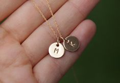 initial necklace tiny initial necklace gold by bluegrassloft, $26.00 - This is exactly what I've been looking for!!!