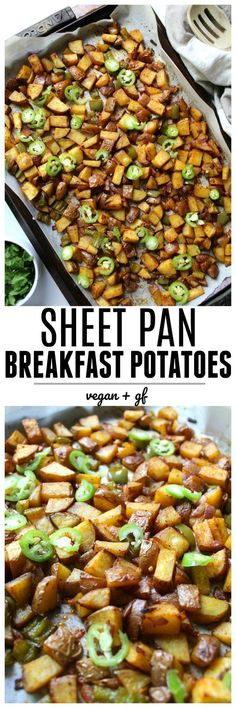 Spice up breakfast with these Sheet Pan Breakfast Potatoes. Cooked with bell peppers, onions and serrano peppers in vegan butter until crisped to perfection! | ThisSavoryVegan.com