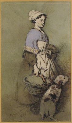 Henry-Bonaventure Monnier (French, 1799–1877). The Cook and Her Dog (La Cuisinière et son chien), 1865.