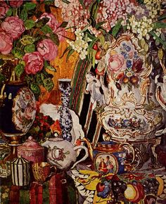 """""""Still Life with Porcelain and flowers"""", huile sur toile, Alexander Golovin Russia. Digital Museum, Collaborative Art, Oil Painting Reproductions, Russian Art, Russian Culture, Russian Style, Pretty Art, Flower Art, Life Flower"""