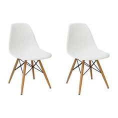 Conjunto 2 Cadeiras Eames PP Branca Base Madeira