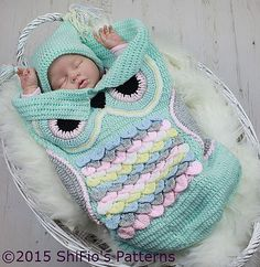 Ravelry: 245- Owl Cocoon Baby Crochet Pattern #245 pattern by ShiFio's Patterns $4.99