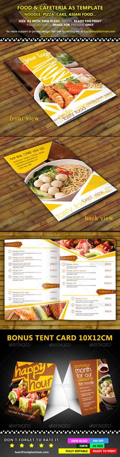 Buy Restaurant Menu Fold Vol 1 by TuanCFS on GraphicRiver. Very attractive fold menu design. You can use it for noodle, pizza, cake, asian food or everything you want to sal. Food Menu Design, Restaurant Menu Design, Restaurant Recipes, Food Menu Template, Menu Templates, Asian Cake, Beef Skewers, Pizza Cake, Menu Printing