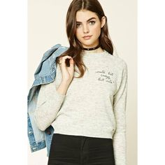 Forever21 Cute But Crazy Sweater (785 INR) ❤ liked on Polyvore featuring tops, sweaters, round neck sweater, full length sweater, white sweater, marled sweater and white top