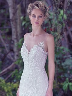 Maggie Sottero - ANALEIGH, An intricate lattice lace with a double keyhole back and illusion tulle neckline adds a modern twist to this classic fit and flare wedding dress. Finished with covered buttons over zipper closure. Fit And Flare Wedding Dress, Wedding Dress Sizes, Perfect Wedding Dress, White Wedding Dresses, Designer Wedding Dresses, Bridal Dresses, One Shoulder Wedding Dress, Wedding Gowns, Formal Wedding