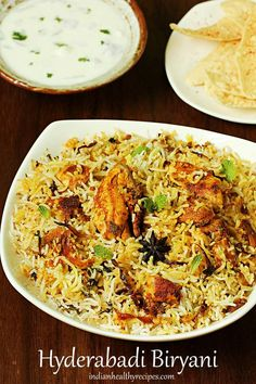 hyderabadi chicken biryani is a delicious rice dish made with basmati rice, spices & chicken. This authentic hyderabadi biryani is quick to make & is easy to try even by beginners. Chicken Dum Biryani Recipe, Chicken Recipes, Chicken Biryani Recipe Pakistani, Chicken Vindaloo, Chicken Treats, Recipe Chicken, Indian Food Recipes, Asian Recipes, Healthy Recipes