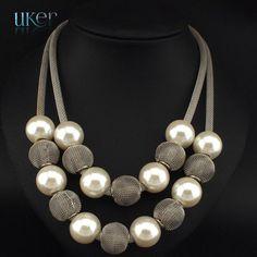 Danfosi 3 Colors Fashion Imitation Pearl Necklace Women Collar Choker Beads Statement Necklaces & Pendants Jewelry Accessories