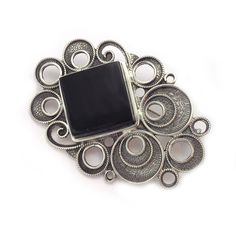 Brooch made by sterling silver and jet, handmade in Galicia with traditional methods. Artcraft of The Way of St. Made in Spain Tax Free, Jewelry Crafts, Jet, Spain, Arts And Crafts, Traditional, Sterling Silver, How To Make, Handmade