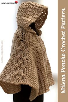 Crochet yourself a trendy fashion accessory for the cooler months - Poncho Crochet Pattern Hooded Poncho crochet pattern - Milena: Crochet this chunky and warm poncho. With a decorative twist cable design & cosy hood it is perfect for chilly days. Crochet Poncho Patterns, Crochet Shawl, Knit Crochet, Crochet Pattern, Autumn Crochet, Knitting Patterns, Crochet Vests, Crochet Cape, Crochet Braid