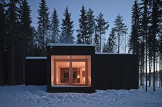 Finland... Simple in the wilderness, Four-Cornered Villa, Avanto Architects, black wood box architecture at night. #house #simple #finland