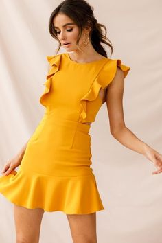 Shop the Jackie Wide Ruffle Hem Pinafore Dress Mustard exclusively at Selfie Leslie! Hoco Dresses, Cute Dresses, Dress Outfits, Casual Dresses, Fashion Dresses, Dresses With Sleeves, Homecoming Dresses, Ruffle Dress, Chiffon Dress