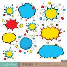 Superhero Text Digital Clipart, Comic Text Clipart, Superheroes Pop Art Text and Bubbles Clipart Art Pop, Clipart, Superhero Texts, Conception Web, Comic Text, Poetry Art, Superhero Birthday Party, Retro Pop, Scrapbooking