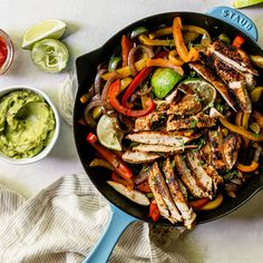 Check out Chicken Fajita Skillet recipe and more from Sur La Table! Chicken Fajita Rezept, Chicken Fajita Casserole, Baked Chicken Fajitas, Homemade Fajita Seasoning, Fajita Recipe, Chicken Fahitas, Chicken Recipes, Skillet Chicken, Bon Appetit
