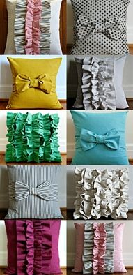 diy pillows - Too cute! Love that polka dot one. We could make big ones for the living room :)