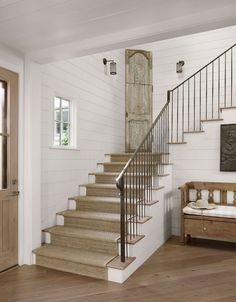 Casual Country Rustic Entrance Hall with Ship-lap Paneling
