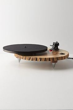 The Barky Turntable from Anthro. It's a turntable made out of a slice of ashwood. Music Gadgets, Cool Gadgets, Cool Furniture, Furniture Design, Anthropologie Home, Modern Love, Elements Of Design, Sweet Home, Interior Design
