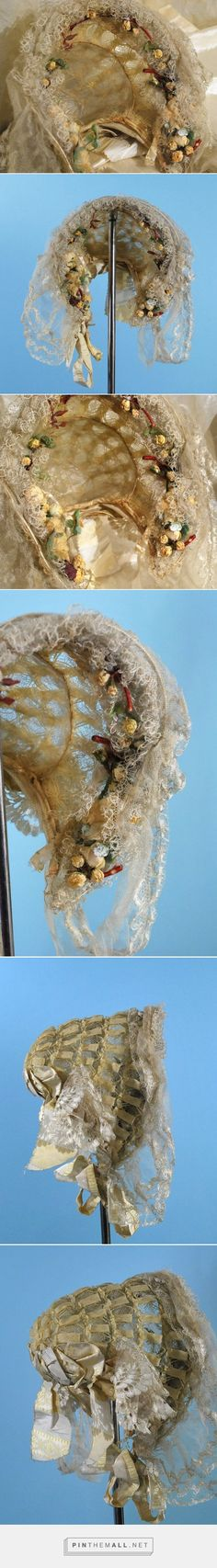 1850 60 Fancy Ladies Crin Bonnet w Silk Blonde Lace Floral Trim RARE Survivor | eBay - created via http://pinthemall.net
