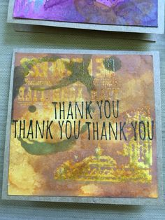 One of six mini thank you cards made with Tim Holtz distress inks.