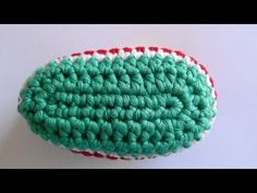 How to Crochet Baby Bootie Sole - Crochet Baby Bootie Sole...This lady goes at a beginners pace. =)