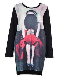 Black Long Sleeve Girl Print Longline T-shirt   Choies