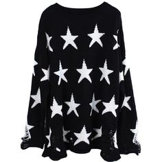 Black Stars Pattern Ladies Loose Ripped Pullover Sweater ($46) ❤ liked on Polyvore featuring tops, sweaters, long sleeves, shirts, black, sweater pullover, loose black shirt, ripped shirts, loose pullover sweater and star sweater