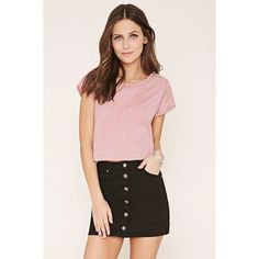 Forever 21 Women's  Cuffed-Sleeve Burnout Tee ($8.90) ❤ liked on Polyvore featuring tops, t-shirts, burnout tee, pink t shirt, forever 21 tee, burnout tops and pink tee