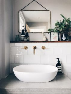 Keeping it simple - your glazed white tiles and Studio Ore Taps just make this bathroom and my day, everyday. Bathroom Splashback, White Bathroom Tiles, Wood Bathroom, Bathroom Renos, Laundry In Bathroom, Simple Bathroom, Washroom Tiles, Bathroom Taps, White Square Tiles
