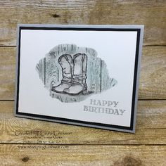 Stampin' Up! Country Livin' Cowboy Boots created by Laura Erickson, May 2017 Stamping to Share Demo Meeting Swap, #stampingtoshare