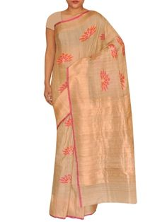 Details: Beige tusser silk with vibrating color motifs in orange and pink allover looks contrasting and fits for all occassion. Specification: Length: 5.5 meters Width: 1.1 meter Blouse Piece: Yes, 80-90 cms Care information: The Silk sarees need to be treasured and handled with care. Only dry clean the sarees and keep under polybags to avoid damage. Shipping and Delivery: We ensure the delivery of the product in best condition possible. All silk sarees need to be polished